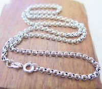 16 inch Pure 925 Sterling Silver Necklace 3mm Rolo Link Chain Necklace S925
