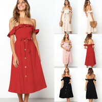 Women's Holiday Boho Off Shoulder Midi Dress Ruffles Belted Party Sun Dress