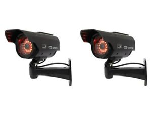 2 x Dummy Security Cameras - SOLAR FAKE CCTV CAMERA RING OF RED LED POWER LIGHTS