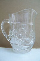 """Crystal Clear Glass Star Large Creamer Or Small Water Jug Pitcher 5.5"""" Tall"""