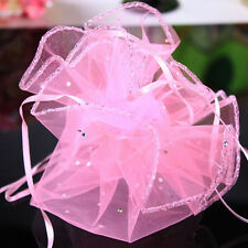 20Pcs Pink Organza Sheer Wedding Party Favors Candy Pouch Bags Decoration Gifts