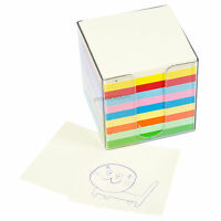 """Rainbow Non-Sticky Note Cube 1,000 Square Paper Memo Notes 3.5"""" x 3.5"""" Holder"""