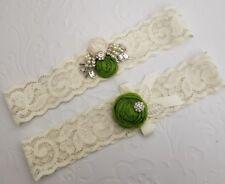 BRIDAL Wedding Garter Set, Lace HANDMADE Green Apple Rosettes Rhinestones Pearl