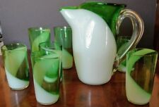 Art Deco W.V. BLENDO Rare & Unique Emerald Green & White Pitcher & Glass Set