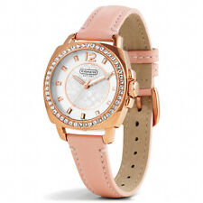 New Coach Women 34mm Case Rose Gold BOYFRIEND Pink Strap Watch 14501753