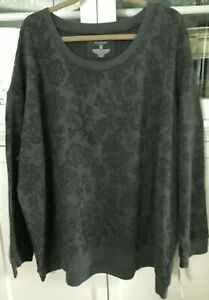 SONOMA Woman Plus 3X Stretch Knit Pullover Sweatshirt Top GRAY GREEN FLORAL NWT