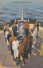 GUN CREW IN VICTORY FORMATION SHIP MILITARY POSTCARD 1943