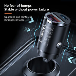 Mini 30W Dual Ports Car PD Fast Charge QC3.0 USB C Charger Adapter For iPhone