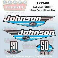 1999-00 Johnson 50 HP OceanPro 3 Cyl Olympic Blue Outboard Repro 4Pc Vinyl Decal