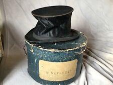 Boîte à Chapeaux ancienne en carton + chapeau claque  PARIS