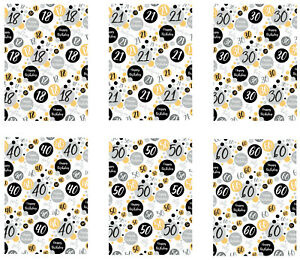 2 SHEETS BIRTHDAY WRAPPING PAPER FEMALE / MALE AGES 18 21 30 40 50 60  65(PA-BG)