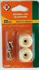 NEW EHI RUBBER FURNITURE FEET WHITE BUMPERS SCREW IN 22 mm 2 PACK FREE POST
