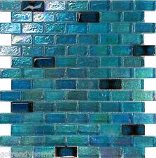 1SF Blue Iridescent Glass Mosaic Tile Kitchen Backsplash Wall Floor Shower Pool
