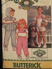 VTG 80s BUTTERICK 6589 Childs Hoodie Jacket Top Pants & Shorts PATTERN 6X UC