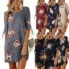 Womens Floral Long Tops Blouse Ladies Casual Summer Beach Tunic Dress Plus Size