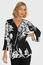 Joseph Ribkoff Black/White Floral Print V-Neck Zipper Accent Blouse 193649 NEW