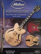 Hofner Verythin Classic Standard JS guitar 2003 ad 8 x 11 advertisement print