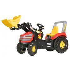 Rolly Toys X-Trac Traktor mit Frontlader Trettraktor mit Überrollbügel rot