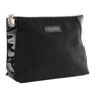 Lancome Black Suede & Charol with Gold Zipper Cosmetic Makeup Travel Bag