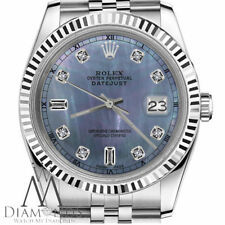 Rolex 26mm Datejust Tahitian MOP 8+2 Diamond Accent Dial 18k & SS Watch with RT
