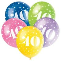 """5 X AGE 40 HELIUM QUALITY 12"""" LATEX BALLOONS PARTY DECORATION MIX 40th BIRTHDAY"""