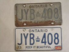 1973 Ontario License Plate Pair Set YOM Year of Manufacture JYB-408