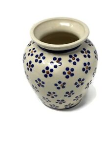 Vintage Boleslawiec Pottery Vase Ivory Flower Hand Made Poland