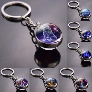 12 Zodiac Sign Keychain Pendant Glass Ball Gifts Scorpio Leo Aries Key Tags Ring