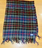 "Pendleton 100% Virgin Wool Plaid Blanket 51""x68"" + fringe USA Portland, Oregon"