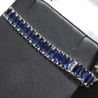 Gorgeous Blue Sapphire Bracelet Women Jewelry Wedding Engagement Gift Free Ship