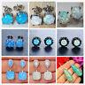 Women 925 Sterling Silver Filled Dangle Fire Opal Stud Earrings Wedding Jewelry