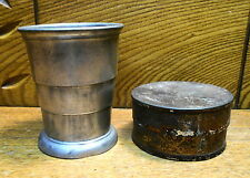 Old Quality Pewter Centennial Collapsible Cup In Tin Case