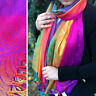 Purple Feather Floral Peacock Scarf Bright Rainbow Multi Colour Pashmina Shawl