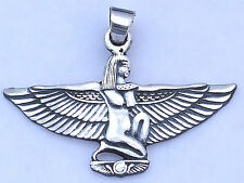 Isis with open arms kneeling on the sun symbol .925 Silver Pendant (Hallmarked)(