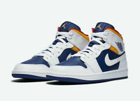 Nike Air Jordan 1 Mid Shoes Royal Blue Laser Orange White 554724-131 Men's NEW