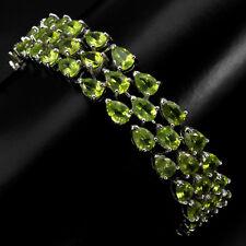 Sterling Silver 925 Genuine Peridot Gemstone Three Row Tennis Bracelet 7 Inch
