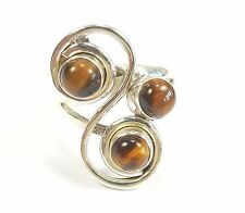 TIGER'S EYE GEMSTONE 925 STERLING SILVER RING STAMPED UK S1/2 US 9.5 7.2 g