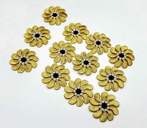 Lot of 12 Gold and Black Iron or press on Embroidered Flower Patches