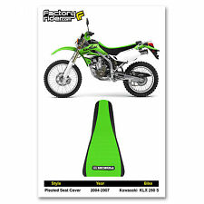 2004-2007 KAWASAKI KLX 250 S Black/Green PLEATED SEAT COVER BY Enjoy MFG
