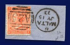 1872 Sg94 4d Vermilion Plate 13 J60 Hi Misperf Malta Jy 15 73 Gu Cat £75 cjnr