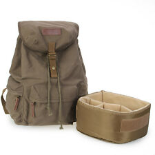 Vintage Canvas DSLR Camera Bag Padding Case Travel Backpack For Canon 5D 60D 5D2
