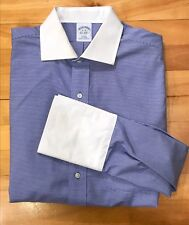 BROOKS BROTHERS Slim Fit Dress Shirt Contrast Collar French Cuff Striped 16/33