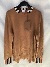 Burberry Eyre Icon Stripe Trim Cashmere Sweater Archive Beige Women's Sz L