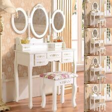 White/Black Oval Mirror Dressing Table Makeup Desk and Stool Set with Drawers