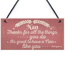 Nan Love You Hanging Plaques Nanny Grandma Birthday Cute Gifts Family Thank You