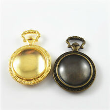 Retro Style Pocket Watch Shaped Cameo Base Tray With Glass Pendant Charms 4 Sets
