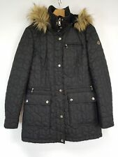 Calvin Klein Black Quilted Fur Trim Hood Parka Coat Women's Sz XS