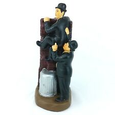 Laurel and Hardy Ornament - Climbing on trash can over wall