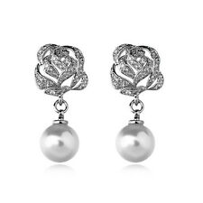 GORGEOUS 18K WHITE GOLD PLATED GENUINE AUSTRIAN CRYSTAL PEARL DANGLE EARRINGS
