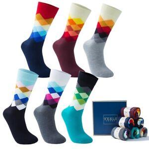 Vkele karierte Socken bunte Karo Socken gemusterte Strümpfe 1-6 Paar mehrfarbig